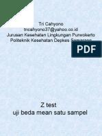 Statistik Z Test Uji Beda Mean Satu Sampel