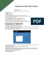 Installation Procedure for V20 of the Garmin Mobile XT