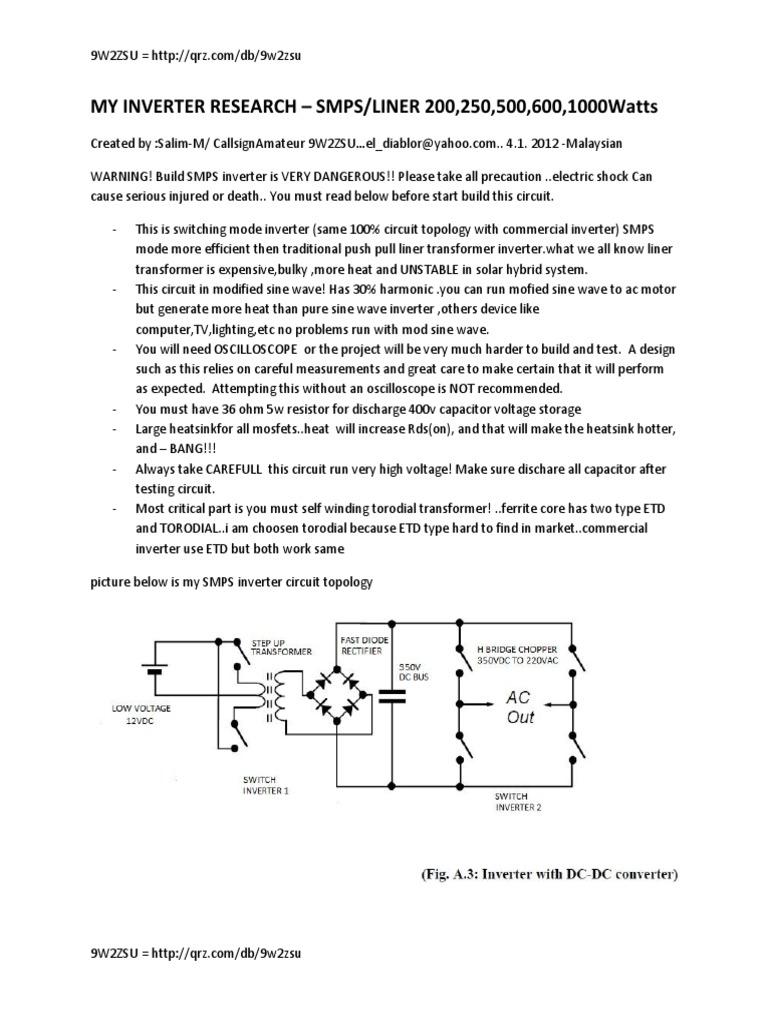 Switch Mode Inverter Power Transformer Ac Circuit 12 Volt For Soldering Iron Portable Solar