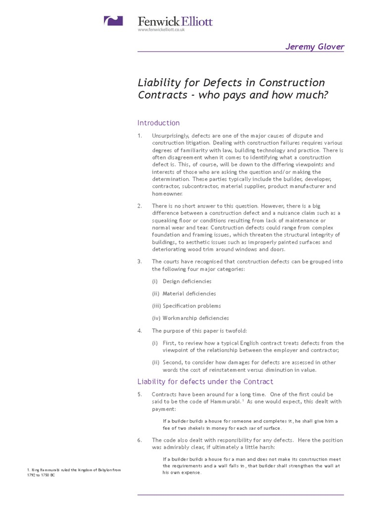 Defects in construction contracts damages breach of contract 1betcityfo Choice Image