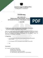 Erklärung zum Ausbau der Oder im Europa-Nationalpark Unteres Odertal
