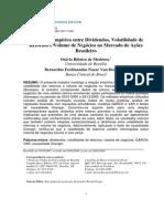 A Relação Empírica entre Dividendos, Volatilidade de Retornos e Volume de Negócios no Mercado de Ações Brasileiro