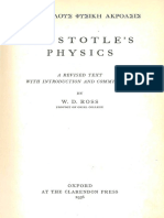 Aristotle - Aristotle's Physics ~ a Revised Text With Introduction and Commentary; Ed. Ross (1936)