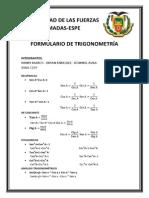 FORMULARIO DE TRIGONOMETRÍA