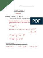Math 125 - Quiz 2 - Solution