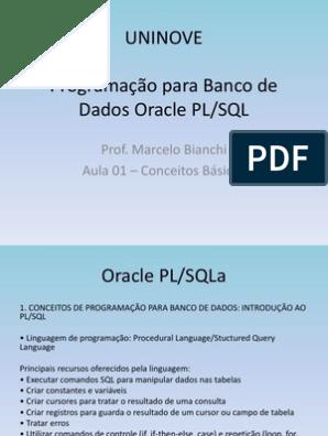 PL SQL BAIXAR APOSTILA DE