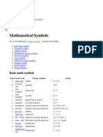 Mathematical symbols list (+,-,x,º,=,(,),...)