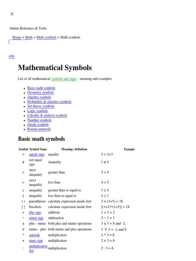 Mathematical symbols list (+,-,x,º,=,(,),   )   Variance   Angle