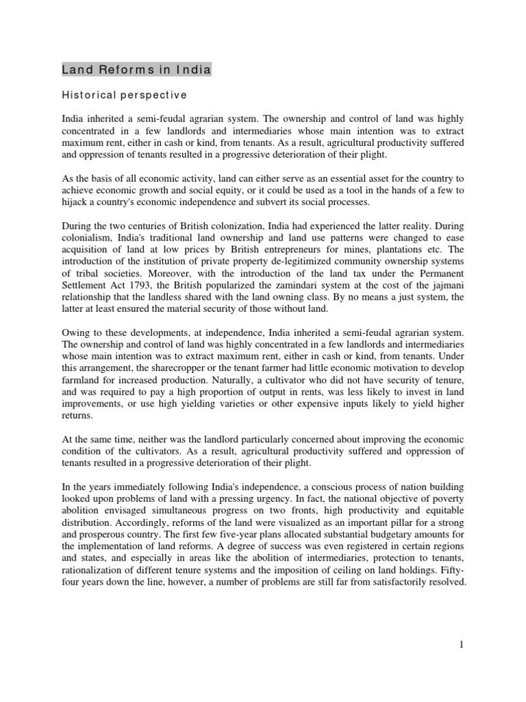 Land Reforms in India IRMA Dec 2009 | Cash Crop | Agriculture
