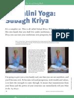 Kundalini Yoga Subagh Kriya
