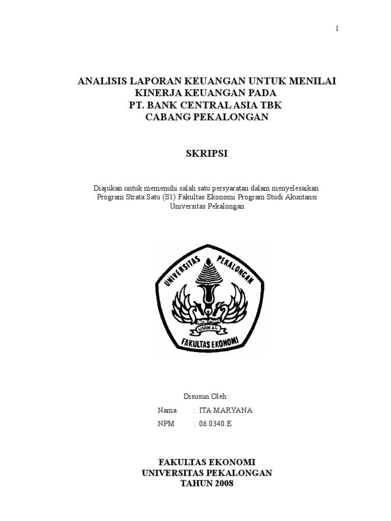 Contoh Jurnal Skripsi Manajemen Keuangan Perbankan