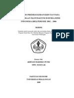 Analisis Prediksi Kebangkrutan Dengan Menggunakan Rasio Keuangan Pada an Manufaktur Di Bursa Efek Indonesia ( BEI ) Periode 2002 - 2006