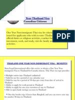 1 Year Thailand Visa (Canadian Citizens)