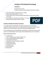 General Principles of Preclinical Screening