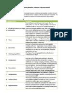 Business Architecture Software Evaluation Matrix