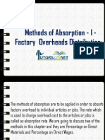 Methods of Absorption - I - Factory Overheads Distribution