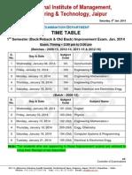 TimeTable of I Sem. (Back-Rabck & Old Back) Improvement Exam 2013-14