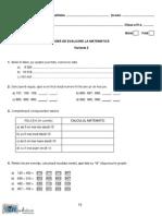 Evaluarea Nationala - Matematica- Clasa a IV-A - Test Pilot
