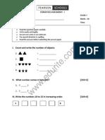 Cbse Class 1 Maths Question Paper FA 1