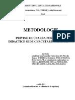 Metodologie Privind Ocuparea Posturilor Didactice Si de Cercetare Vacante2013