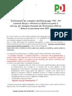 Dichiarazione cons. Burgio sul Bilancio di Previsione 2013 - PSI Sommatino