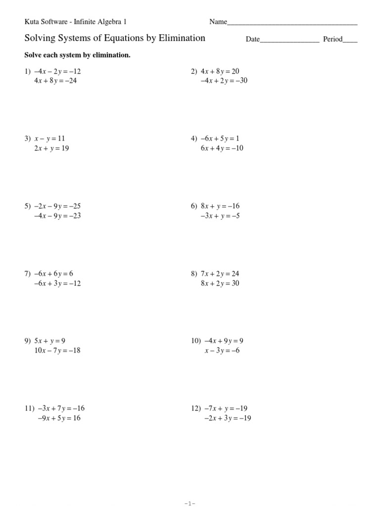 Worksheets Solving Systems Of Equations By Elimination Worksheet systems of equations elimination kuta software