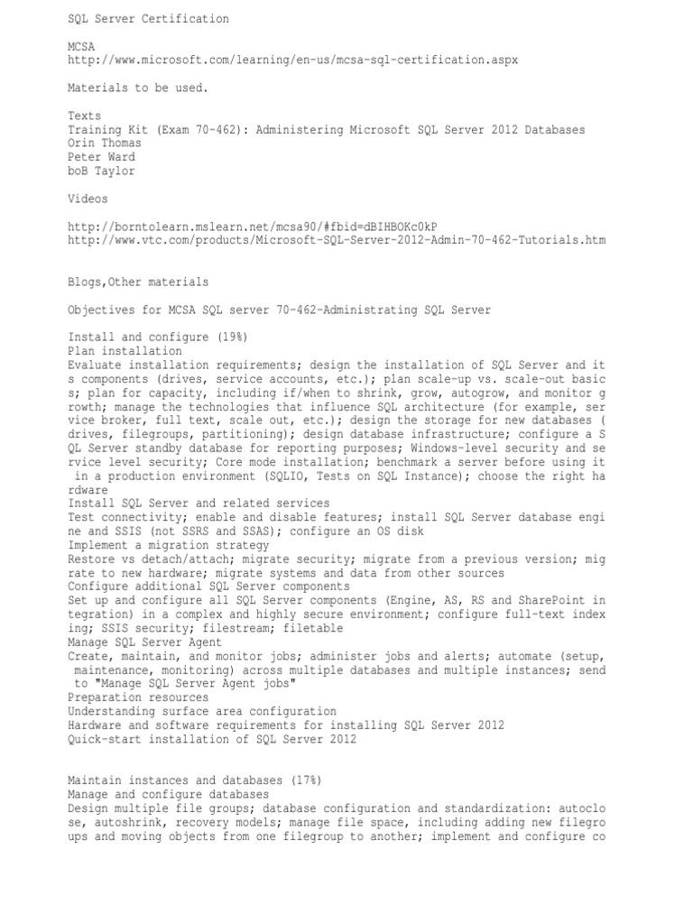 Sql Server Certification 70 462 Study Materials Microsoft Sql