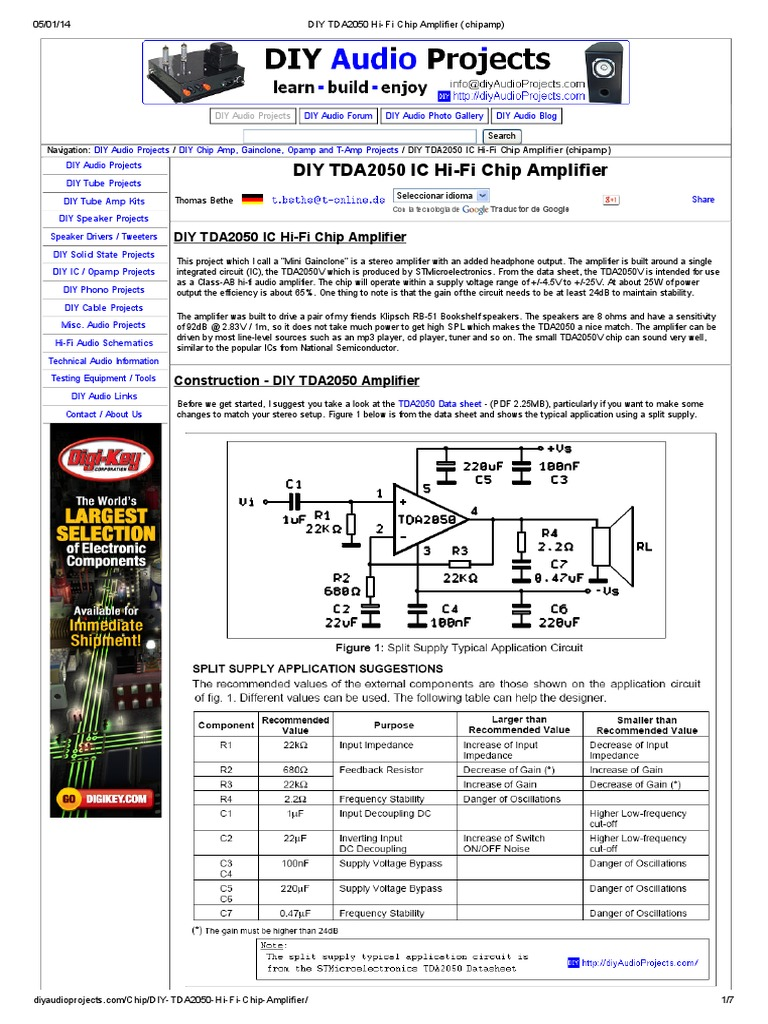 Diy Tda2050 Hi Fi Chip Amplifier Chipamp Electrical Connector Godown Wiring Diagram Pdf