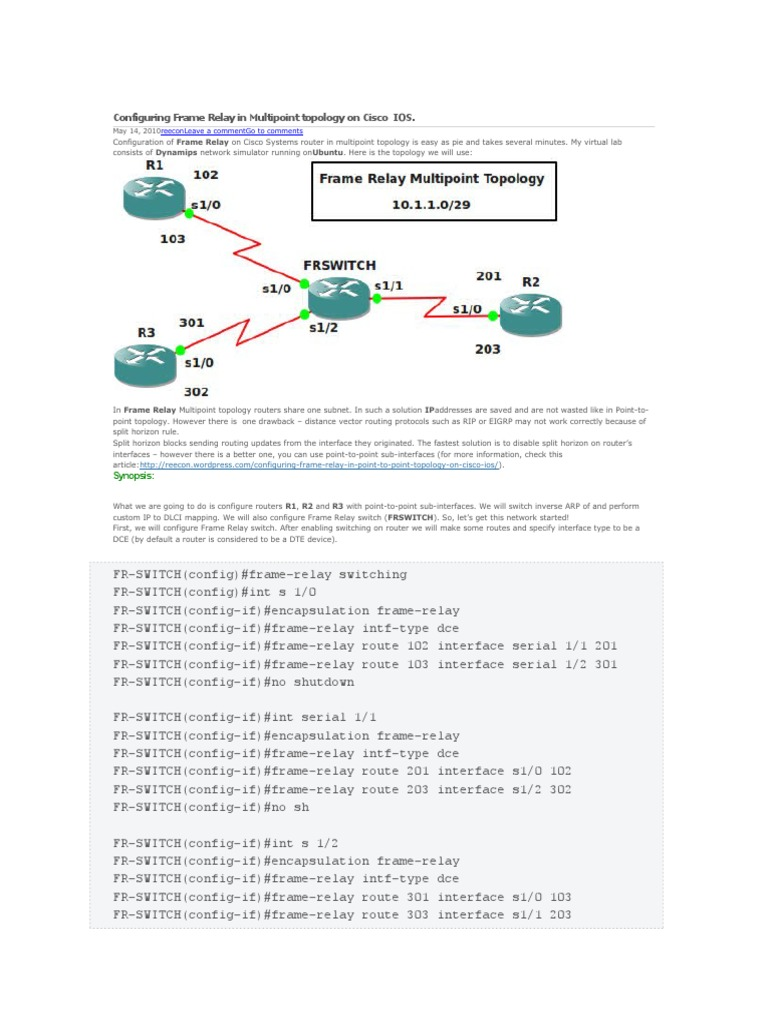 Configuring Frame Relay in Multipoint Topology on Cisco | Router ...