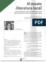 """""""Al rescate de la literatura local. (Aportes para la puesta en valor de la literatura local como patrimonio cultural de una comunidad)"""",  por Brenda Sanchez"""