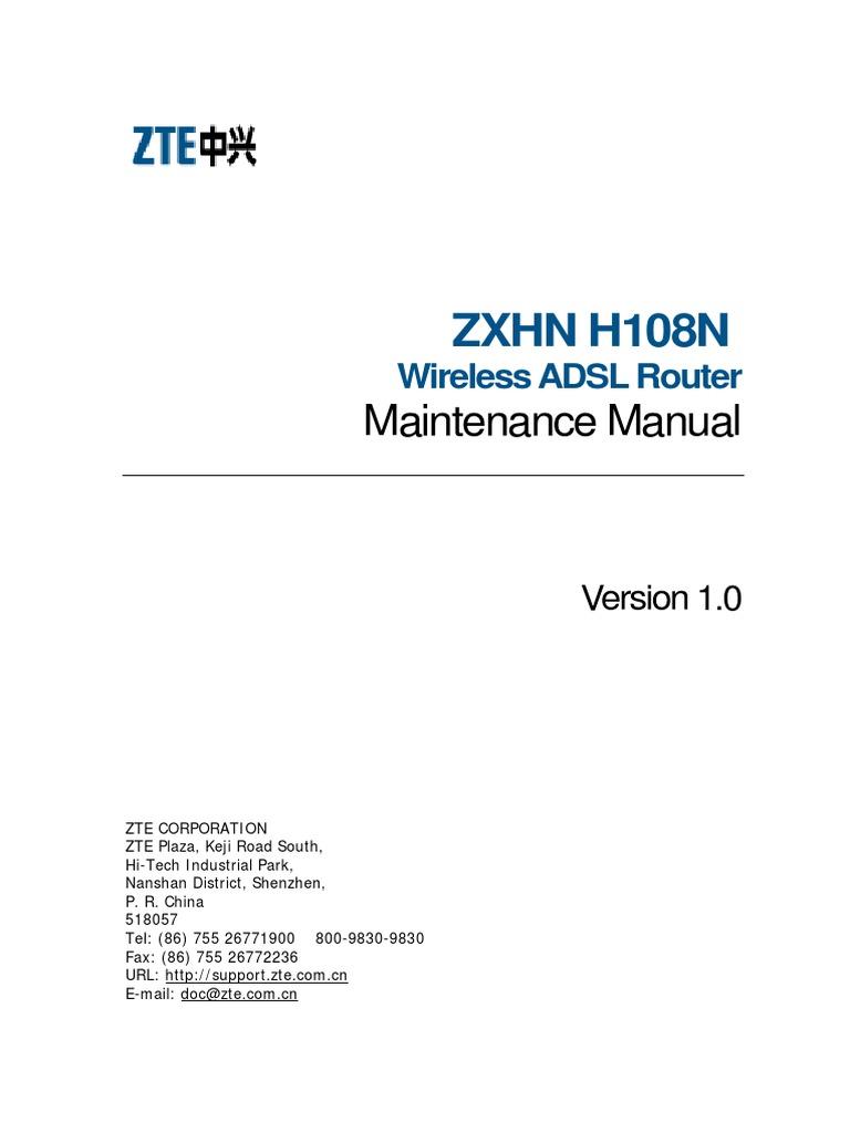 ZXHN H108N Wireless ADSL Router Maintenance Manual | Ip