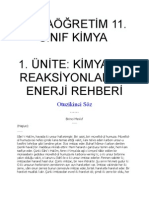 11. SINIF KİMYA 1. ÜNİTE; KİMYASAL REAKSİYONLAR VE ENERJİ REHBERİ