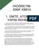10. SINIF KİMYA   1. ÜNİTE; ATOMUN YAPISI REHBERİ