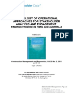 StakeholdeA TYPOLOGY OF OPERATIONAL APPROACHES FOR STAKEHOLDER ANALYSIS AND ENGAGEMENT: FINDINGS FROM HONG KONG AND AUSTRALIA