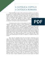 IGLESIA CATÓLICA COPTA E  IGLESIA CATÓLICA ROMANA