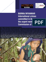 BURMA / MYANMAR International crimes committed in Burma