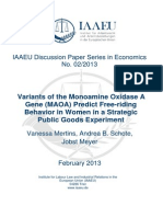 Jobst Mayer- Variants of the Monoamine Oxidase a (MAOA) Gene Predict Free-Riding Behavior in Women in a Strategic Public Goods Experiment
