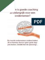 Waarom is Goede Coaching Zo Belangrijk Voor Een Ondernemer