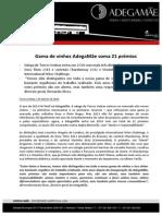 COMUNICADO DE IMPRENSA | ADEGAMÃE - PRÉMIOS