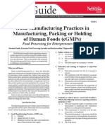 Good Manufacturing Practices in Manufacturing of Human Foods