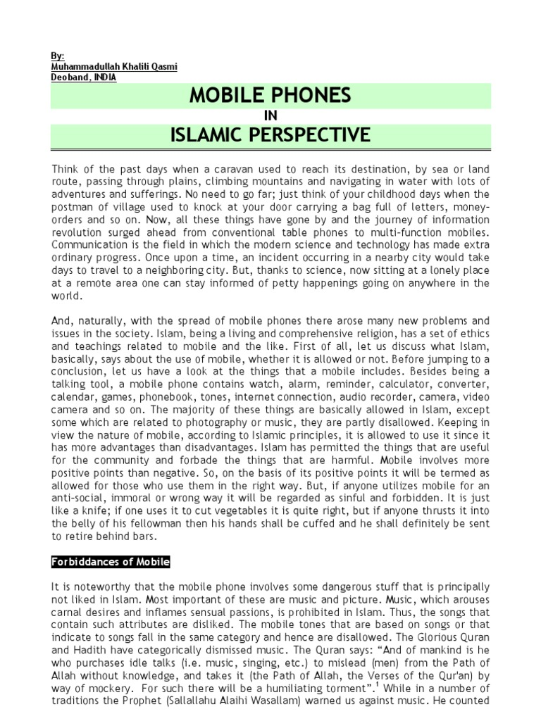 Mobile Phone In Islamic Perspective Muhammad Hadith