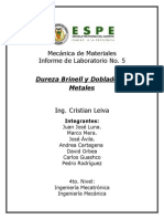 Dureza Brinell y Doblado en Metales