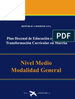 Plan Decenal de Educación. Currículo Educativo Nivel Medio RD