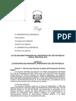 Proyecto Ley Equilibrio Financiero2010