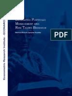 Discussion Paper 13 - Delegated Portfolio Management and Risk Taking Behavior