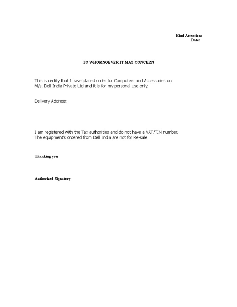 Self Declaration Letter
