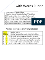 Working With Words Rubric