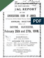 Congregational Union of Jamaica 1918 v.42