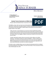 PRESS RELEASE - Turner Comments on White House Poverty Report