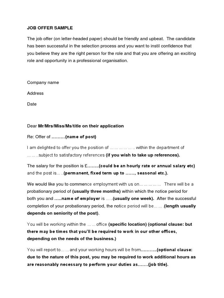 Job Offer Sample Letter  PDF